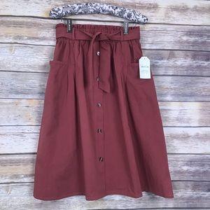Large Sadie & Love Salmon midi button down skirt